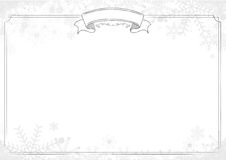 White background with classic border, winter snowflake and snow Stock Photo