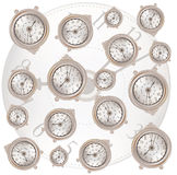 White background with classic clocks pattern Royalty Free Stock Photo