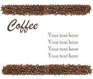 White background with coffee beans and sample text Royalty Free Stock Images