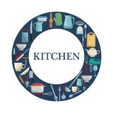 White background with color ring shape border with different elements kitchen inside. Vector illustration Stock Photos
