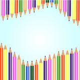 White background with colored pencils Royalty Free Stock Photos