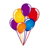 White background with colorful balloons close up. Illustration Royalty Free Stock Photos