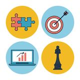 White background with colorful circle frames of corporate business icons as puzzle pieces and target with arrow and. Laptop computer and chess piece vector vector illustration