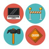 White background with colorful circles with icons of laptop and hammer and warning signals. Vector illustration Royalty Free Stock Photography