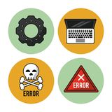White background with colorful circles with icons of pinion and laptop and icon error as warning triangle and skull and. Bones vector illustration Royalty Free Stock Photos