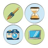 White background with colorful circles with marketing icons how photo camera and sand clock and laptop and rocket pencil. Vector illustration Royalty Free Stock Photo