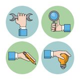 White background with colorful circles with silhouettes of hands with wrench and magnifying glass and pencil and light. Bulb vector illustration Royalty Free Stock Photos
