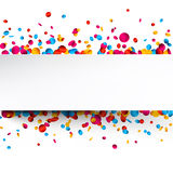 White background with colorful confetti. White festive background with glossy colorful confetti. Vector paper illustration Stock Photography