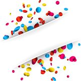 White background with colorful confetti. White festive background with glossy colorful confetti. Vector paper illustration Royalty Free Stock Photos