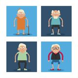 White background with colorful frames set of grandparents standing and grandmother with walking stick. Vector illustration Stock Image