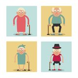 White background with colorful frames set of grandparents standing with walking sticks. Vector illustration Royalty Free Stock Image