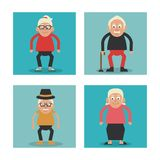 White background with colorful frames set of grandparents with walking stick and glasses and hat. Vector illustration Royalty Free Stock Photos