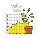White background with colorful plantpot and grid with graphics growth economy analytics and investment. Vector illustration Royalty Free Stock Photography