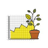 White background with colorful plantpot and grid with graphics growth economy. Vector illustration Royalty Free Stock Image
