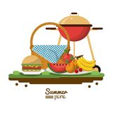White background of colorful poster of summer picnic with picnic basket and charcoal grill and dishes with fruits and. Burger vector illustration Royalty Free Stock Image