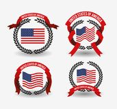 White background of colorful set flags united states of america with arch of leaves and label tape. Vector illustration Royalty Free Stock Photo