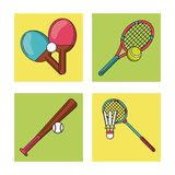 White background with colorful set of frames with sports rackets and baseball bat stock illustration