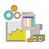 White background with colorful set graphics growth economy. Vector illustration Stock Photo