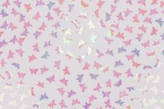 White background with colorful sparkling butterfly shaped confetti. Flat lay. royalty free illustration