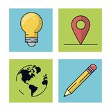 White background with colorful squares with icons of mobile app as light bulb and map pointer and world map and pencil royalty free illustration