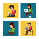 White background with colorful squares with man and woman in communicating via computer or smartphone. Vector illustration Royalty Free Stock Photo