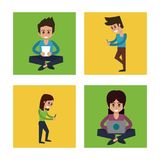 White background with colorful squares with man and woman in communicating via mobile devices. Vector illustration Stock Images
