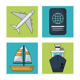 White background with colorful squares with traveling icons. Vector illustration Stock Photos