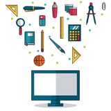 White background with computer in closeup and colorful smaller icons of elements of school. Vector illustration Stock Photography