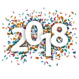 2018 White Background Confetti. 2018 with colored confetti on the white background Royalty Free Illustration