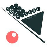 On a white background cue, triangle, pyramid of balls. company logo royalty free illustration