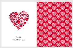 Happy Valentine`s Day Vector Card. Adorable Red Heart Made of Flowers, Dots and Twigs. vector illustration
