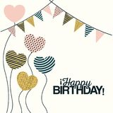 White background with decorative flags to party and decorative balloons in the shape of a heart with text happy birthday. Vector illustration Stock Photos