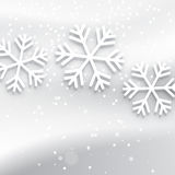 White background with decorative snowflakes Royalty Free Stock Images