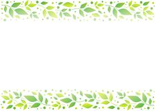 White background with decorative stripes align top and below with green leaves and dots. For decoration, scrapbooking paper,wedding invitation, greeting card stock illustration