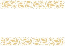 White background with decorative stripes align top and below with orange leaves and dots with texture. For decoration, scrapbooking paper,wedding invitation stock illustration