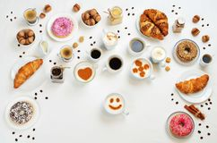 White background with different types of coffee and desserts to Stock Image