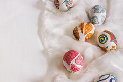 White background with Easter eggs. White fur background with Easter eggs Stock Photography