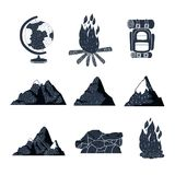 White background elements for camping adventure and rocks mountains Royalty Free Stock Images