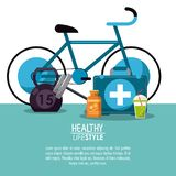 White background with elements sport healthy lifestyle. Vector illustration Royalty Free Stock Photo