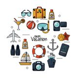White background of enjoy vacation with set icons for traveling and vacations. Vector illustration Stock Image