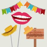 White background with festoon and hat and mouth symbol of joy in festa junina. Vector illustration Royalty Free Stock Image