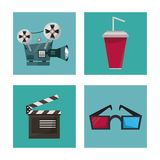 White background with film elements in frames as drinks glasses 3D clapperboard and movie projector. Vector illustration Stock Photography