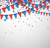 White background with flags and stars. Stock Photography