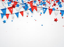 White background with flags and stars. USA background with colorful stars and flags. Vector paper illustration Royalty Free Stock Photography