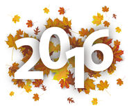 2016 White Background Foliage. 2016 with autumn foliage on the white background Stock Illustration