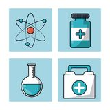 White background with frames with atom symbol and first aid kit and test tube and pills bottle. Vector illustration Royalty Free Stock Photos