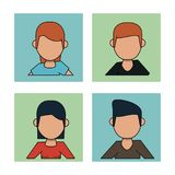White background with frames of men and women faceless with red and brunette hair. Vector illustration Stock Photo