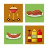 White background with frames of picnic elements with grill and sausage and meat and set of bottles sauce. Vector illustration Royalty Free Stock Photos