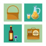 White background with frames of picnic elements with picnic basket and wine bottle and cutlery set and juice jar Royalty Free Stock Images