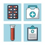 White background with frames with pills and first aid kit and test tube and medical notepad. Vector illustration Stock Image